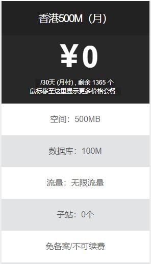 倾辰IDC免费空间提供500M香港免费空间申请